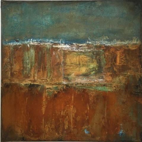 Gudrun Tischler, wonderfulART, Künstler, artist, abstrakte Malerei, Acrylfarben, Rost, Kupfer, Patina