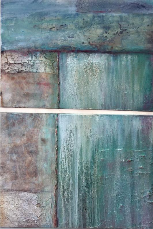 Gudrun Tischler, wonderfulART, Künstler, artist, abstrakte Malerei, Struktur, Marmormehl, Seinkreide, Papiere, Karton, Acrylfarben, Aerocolorfarben